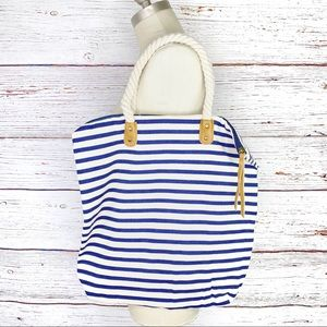 Summer & Rose Brittany striped zippered tote